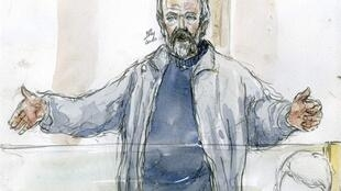 A court sketch portrays Toni Musulin speaking during his trial in Lyon on 11 May, 2010
