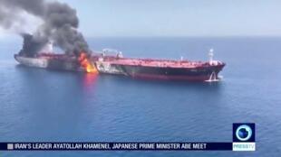 """تصاویر شبکه """"پرس تی وی"""" متعلق به جمهوری اسلامی، از یکی از نفتکشهایی که هدف حمله قرار گرفت"""