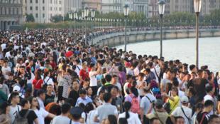 中国十一黄金周期间的上海外滩 2018年10月2日