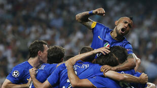 Juventus' players celebrates after scoring the equaliser against Real Madrid in their Champions League semifinal.