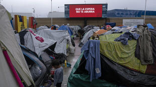 A migrant shelter in El Chaparral, Tijuana, Baja California state, Mexico where the number of children has increased dramatically