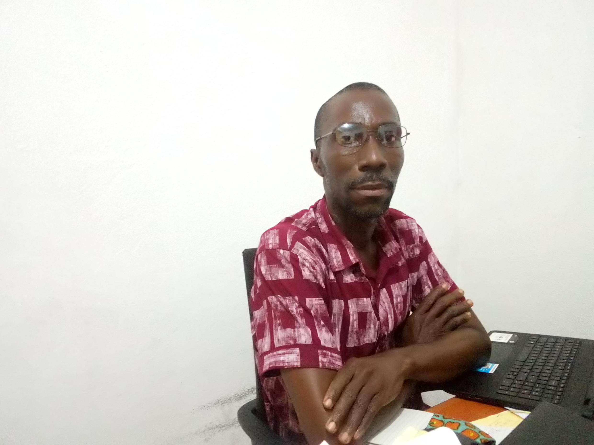 "Tamba Forkpah J. Johnson, head of the ""He For She Crusaders"" advocacy group in Liberia"