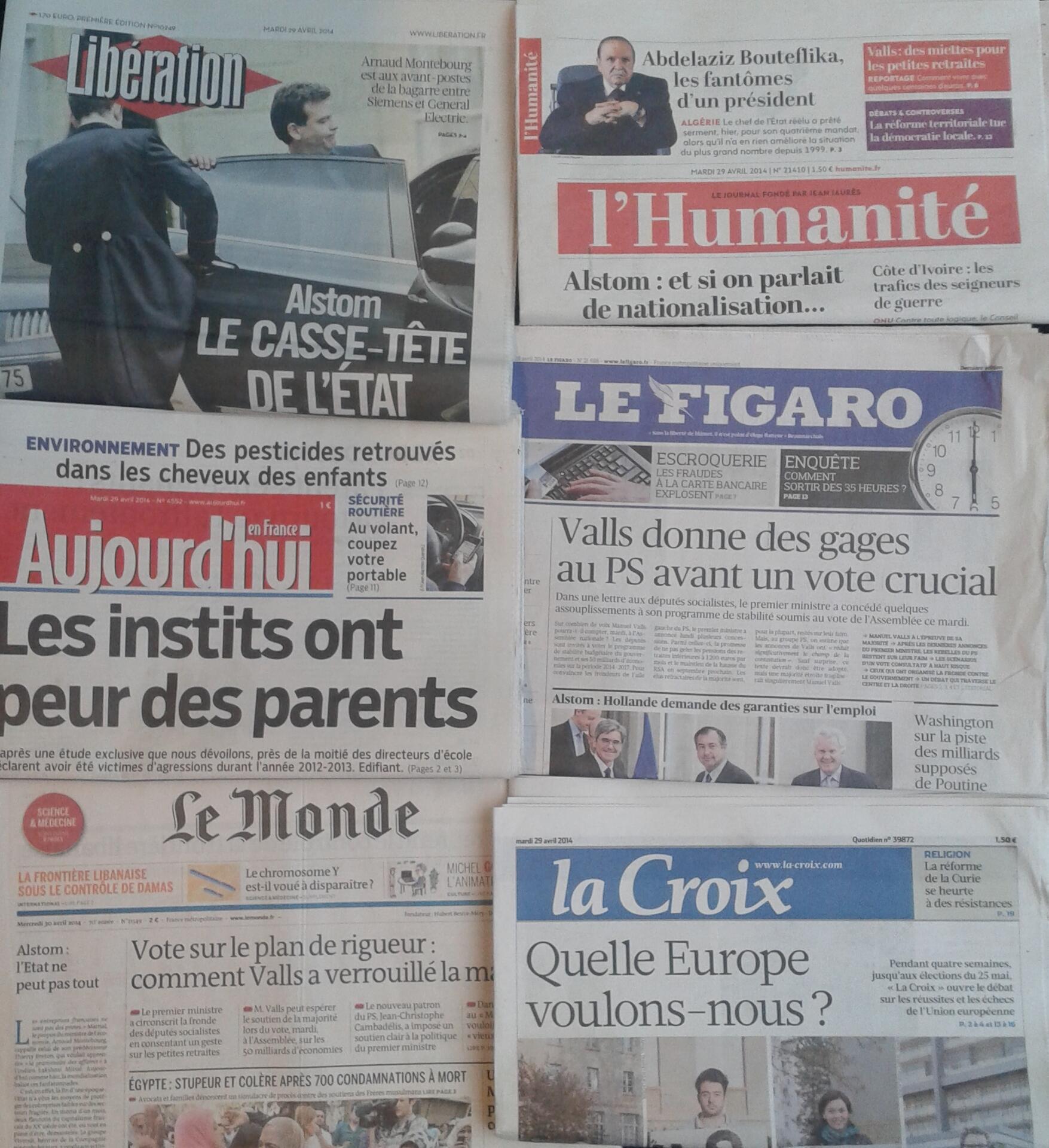 Imprensa francesa do dia 29.3.2014
