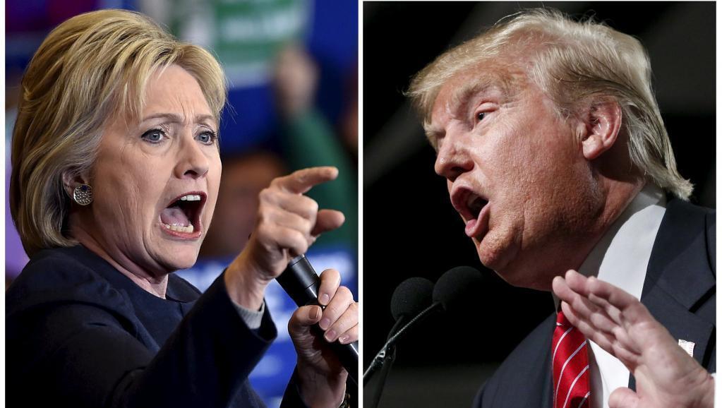 A pré-candidata democrata Hillary Clinton (E) e o republicano Donald Trump.