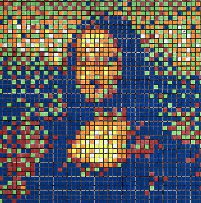 Rubik Mona Lisa, 2005 RubikCubism  -  'Rubik Masterpiece' series Assemblage of Rubik's cubes forming a pixelated transposition of La Gioconda/Mona Lisa by Leonardo da Vinci.