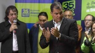 El ex presidente Rafael Correa el 23 de febrero de 2014.