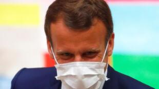 戴口罩的法國總統馬克龍