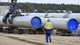 Le chantier de construction du gazoduc Nord Stream 2 à Lubmin dans le nord de l'Allemagne en mars 2019.