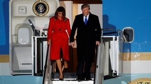 US President Donald Trump and first lady Melania arrive at Stansted Airport, ahead of the NATO summit, in Stansted, Britain, 2 December, 2019.
