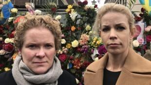 A prefeita de Estocolmo, Karin Wanngård (e) ao lado da vice-prefeita Emilia Bjuggren.
