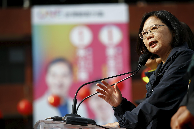 Ứng cử viên tổng thống Đài Loan của đảng Dân tiến (DPP) Thái Anh Văn trong một cuộc vận động tranh cử ngày 14/01/2016.