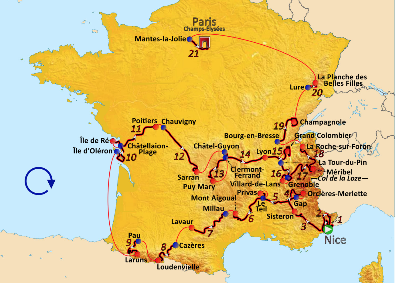 Route of the 2020 edition of the Tour de France.