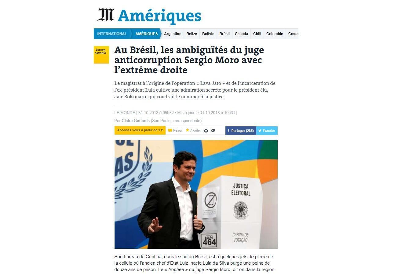 Le Monde aponta as ambiguidades do juiz Sérgio Moro