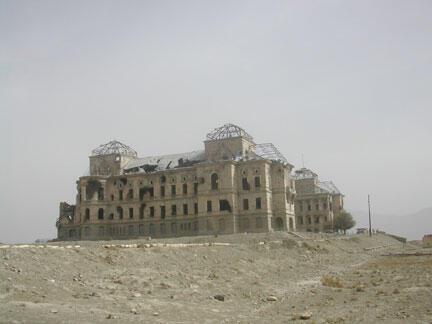 The ruins of the royal palace at Kabul after decades of war
