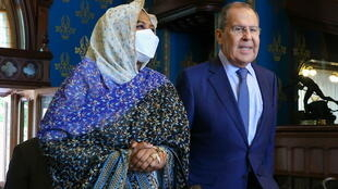 Russian Foreign Minister Sergei Lavrov meets Sudanese Foreign Minister Mariam al-Sadiq al Mahdi in Moscow, Russia July 12, 2021.