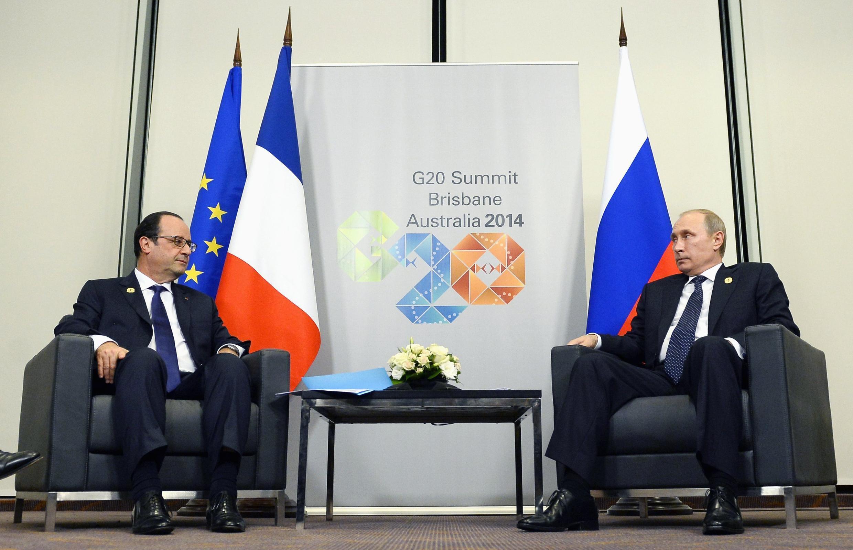 دیدار فرانسوا هولاند- رئیس جمهوری فرانسه با ولادیمیرپوتین- رئیس جمهوری روسیه در استرالیا. ١۵ نوامبر ٢٠١٤