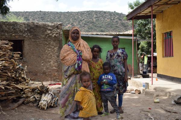 Amina Mohamed and her children on their farm, Dire Dawa region, February 11, 2020