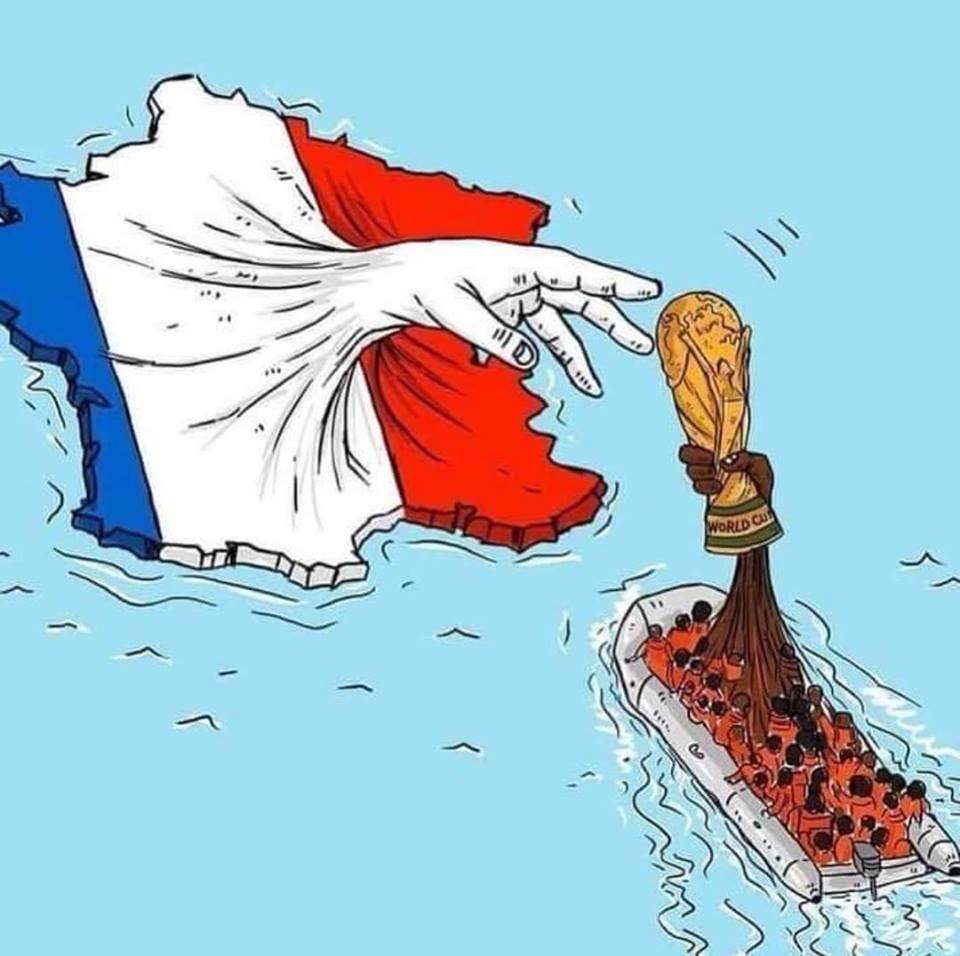 Dibujo tras la victoria de Francia en el mundial de fútbol.