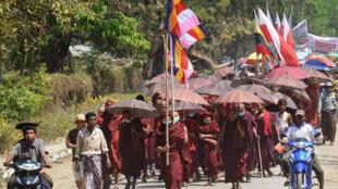 Mardi 16 janvier, ils sont environ 5 000 bouddhistes à être descendus dans la rue dans la ville de Mrauk U, dans le nord de l'Arakan (photo d'illustration).
