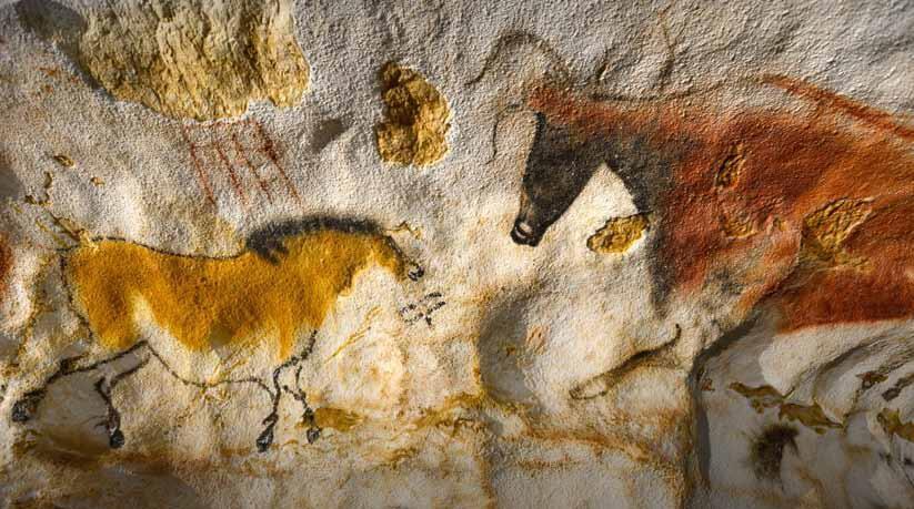 Dibujos de la cueva de Lascaux (réplica).