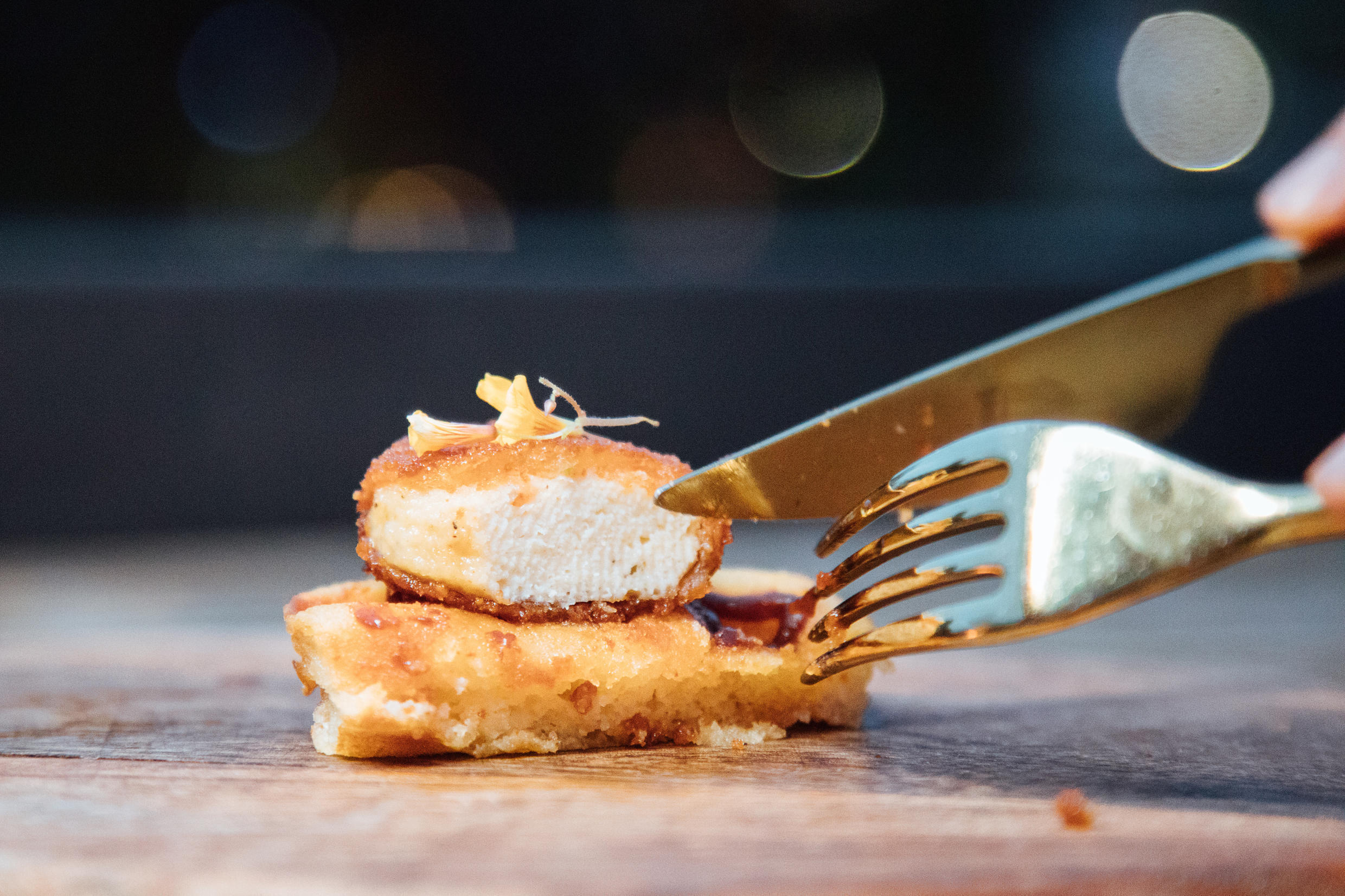 A nugget made from lab-grown chicken meat at a restaurant in Singapore