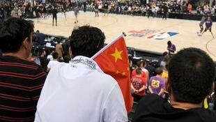观看NBA比赛的中国球迷资料图片