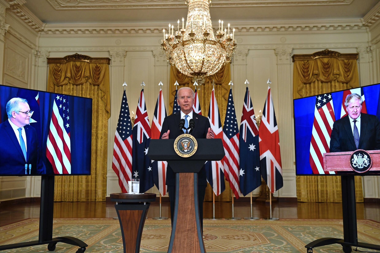 US President Joe Biden announces a three-way alliance with British Prime Minister Boris Johnson (left) and Australian Prime Minister Scott Morrison at the White House on September 15, 2021