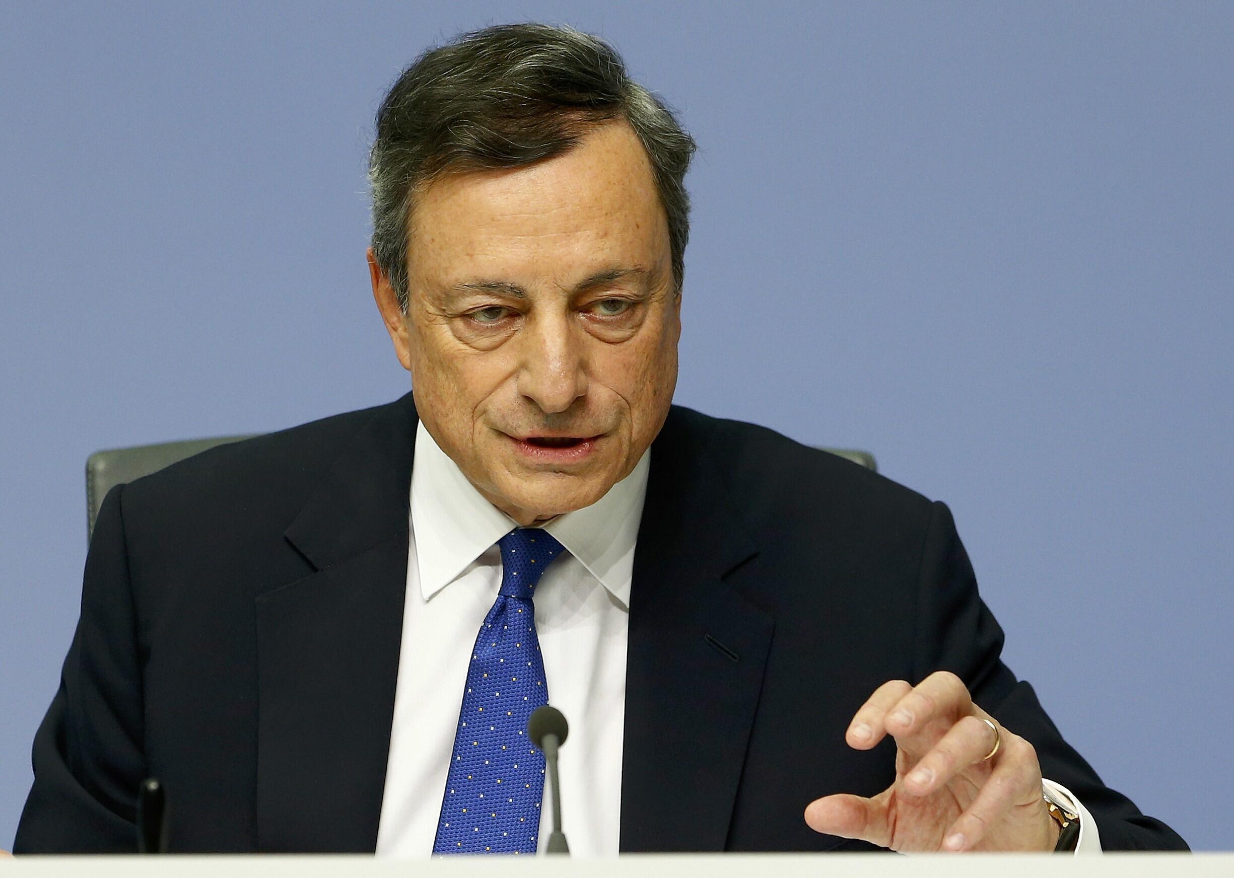 Le président de la Banque centrale européenne, Mario Draghi, lors d'une conférence de presse, ce 8 décembre 2016, au siège de l'insitution à Francfort.