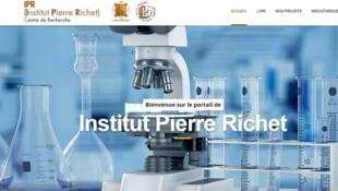 Capture d'écran de la page d'accueil du site internet de l'Institut Pierre Richet.