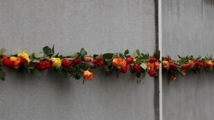 柏林墙倒塌30周年纪念活动上的玫瑰花墙饰 2019年11月9日