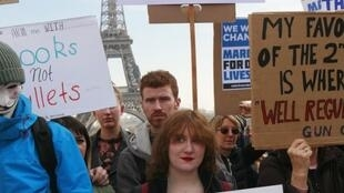 March for Our Lives, Paris, France  Americans and French held a March for Our Lives anti-NRA anti-gun rally on Place de Trocadero, facing the Eiffel Tower, in Paris, France le 24.03.2018