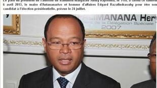 Edgard Razafindravahy désigné candidat du TGV, parti d'Andry Rajoelina à la présidentielle de juillet 2013, et maire d'Antanarivo.