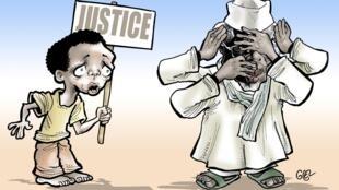 Caricature d'Hissène Habré réalisée par le dessinateur burkinabè Damien Glez au début du procès en juillet 2015.