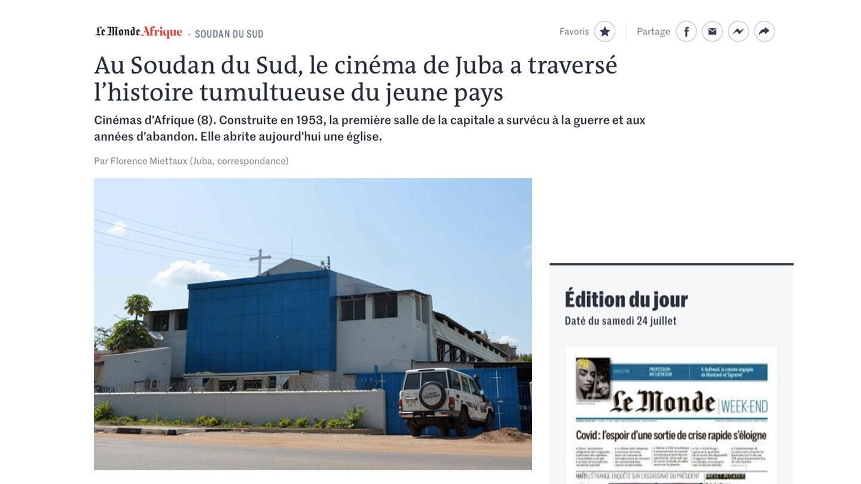 Le Monde Afrique cinéma de Juba