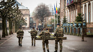 Military forces patrol the French city of Strasbourg as part of Operation Sentinel in place since  2015