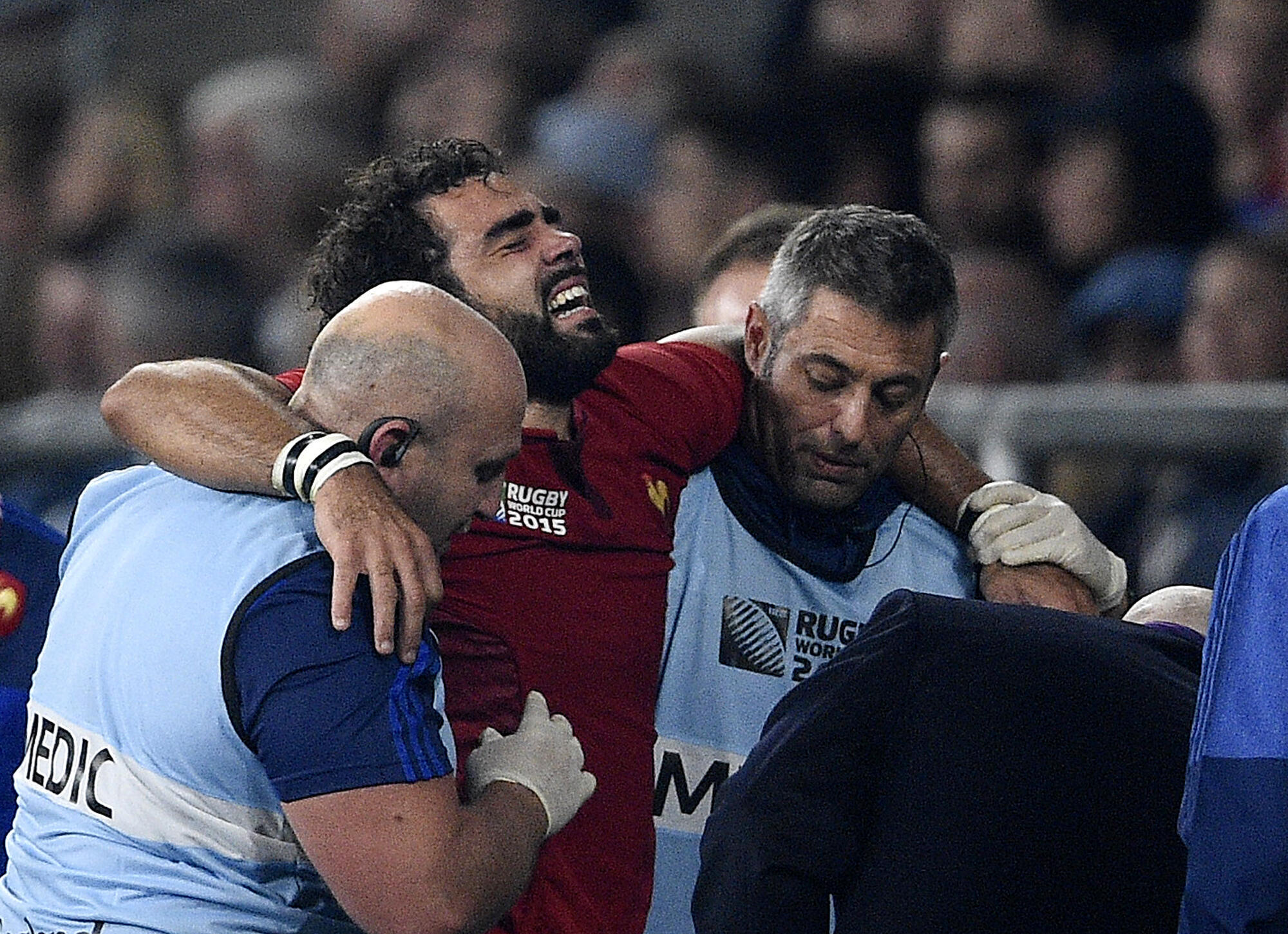Yoann Huget was forced off after 56 minutes of Saturday's match at Twickenham