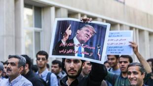 2017年10月14日,德黑兰街头的反特朗普抗议集会。