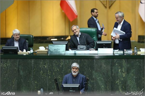 علی مطهری در حال سخنرانی در صحن علنی مجلس