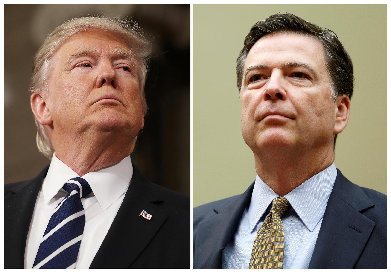 Phiên điều trần trước Quốc Hội của cựu giám đốc FBI James Comey sắp tới có thể sẽ làm mọi chuyện nổ tung. Trong ảnh, tổng thống Mỹ Donald Trump (T) - cựu giám đốc FBI James Comey (P).