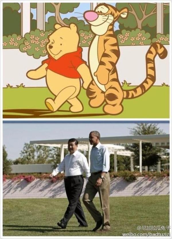 Photo détournée de Xi Jinping et Barack Obama en Winnie et Tigrou.