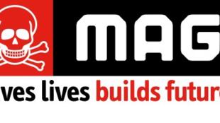 Parte del logotipo oficial de la Organización no gubernamental Mines Advosory Group (MAG), Londres, Reino Unido.