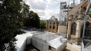 Decontamination area at the cathedral of Notre-Dame, 19 August 2019 as works resumed following lead contamination scare