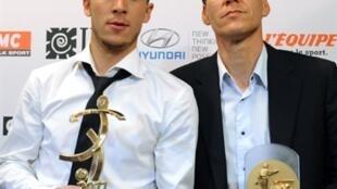 Eden Hazard (g.) et son entraîneur à Lille, Rudy Garcia.