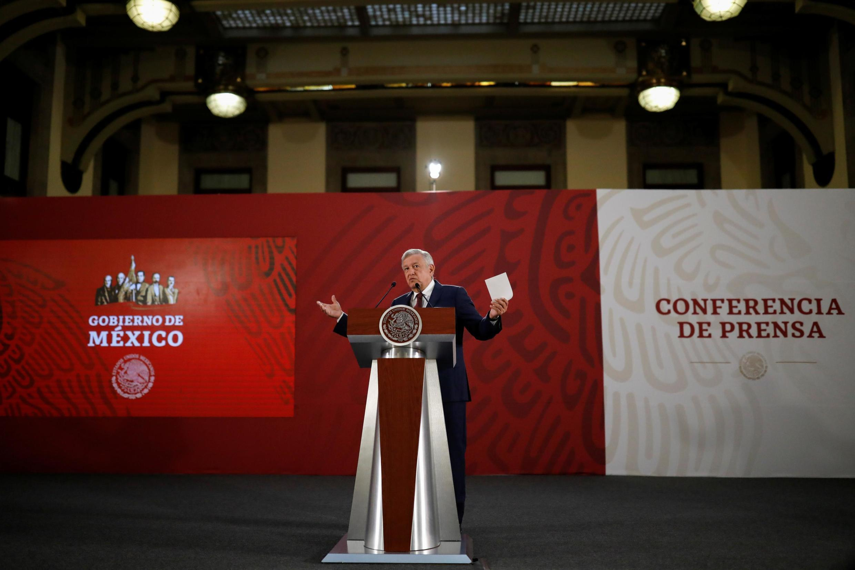 Tổng thống Mêhicô Andres Manuel Lopez Obrador phát biểu trong một cuộc họp báo, ngày 07/06/2019.