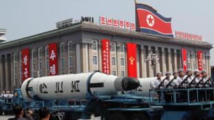 Межконтинентальные баллистические ракеты «Pukkuksong» показали на военном параде в Пхеньяне, 15 апреля 2017 года