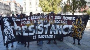 Manifestation contre le projet d'aéroport  à Notre-Dame-des-Landes, le 5 novembre 2016.