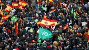 Des partisans du parti Vox participent à un meeting à Madrid, le 26 avril 2019. 西班牙2019年立法選舉 聲音黨選民在馬德里集會