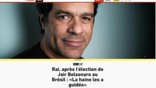 """Raí disse que """"ódio guiou"""" os eleitores de Bolsonaro à revista L'Équipe."""