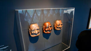 "Japanese masks at the ""Jacques Chirac – the Dialogue of Cultures"" exhibition, Quai Branly"