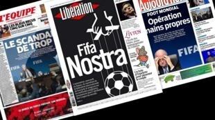Capa dos jornais franceses L'Equipe, Libération, Aujourd'hui en France desta quinta-feira, 28 de maio de 2015.